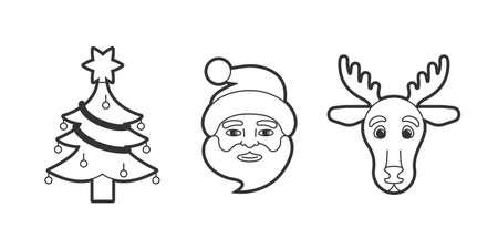 Christmas tree, Santa Claus and reindeer icons. Editable strokes.