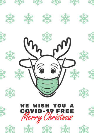 Reindeer with mask and We wish you a covid-19 free Merry Christmas text. Editable strokes.