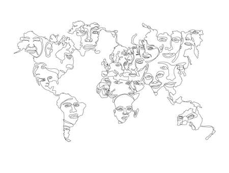 World map with faces of native people continuous line art, not expanded, stroke weight editable.  イラスト・ベクター素材