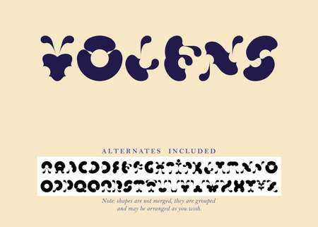 Volens font set with alternates included for A, D, I, M, N, O, P, Q, R, T, U, W, X, Y. Characters are not merged, they are grouped and can be arranged differently according to the users wish.  イラスト・ベクター素材