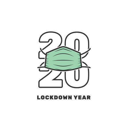2020 year of the lockdown wearing a mask. Editable strokes. Ilustracja