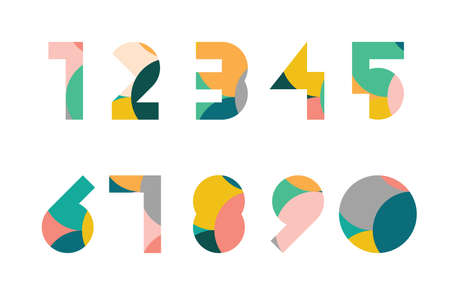 Colorful display numerals from 1 to 0 with overlapping circles pattern Ilustracja
