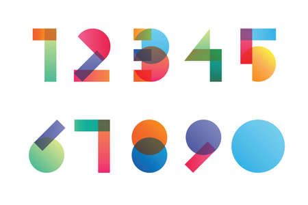 Colorful gradient overlapping transparent shapes numerals from 1 to 0