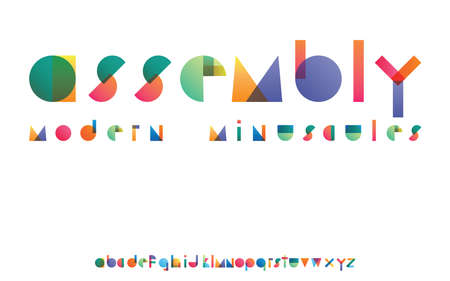 Assembly colorful gradient overlapping transparent shapes font minuscules