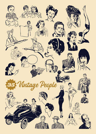 Vintage people set contains 35 people diverse in age, roles, profession, men and women.