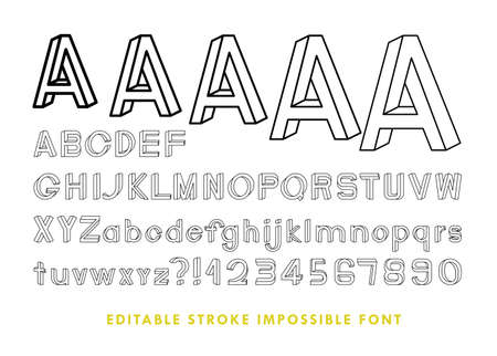 Impossible font contains 64 characters with editable strokes, meaning the strokes are not expanded and the weights can be edited. Ilustracja