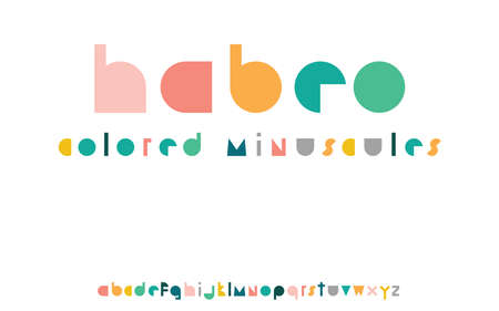 Habeo colorful display font minuscules with minimalistic shapes and color harmony Ilustracja