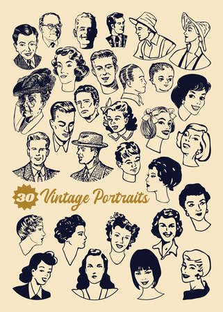 Vector set of 30 vintage medal style portraits hand drawn Ilustracja