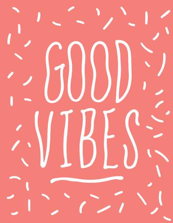 Good Vibes Hand getrokken golvende typografie Poster Stock Illustratie