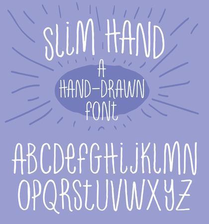 手描きアルファベット スキニー タイポグラフィ フォント