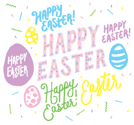 Happy Easter Typography Vector Text Hand Lettering