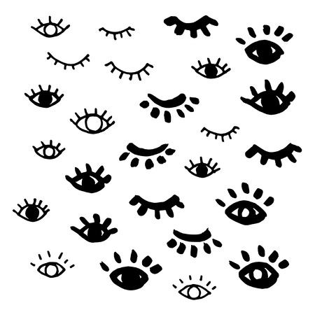 Hand Drawn Eyes Vector Blinking Open Eye Design