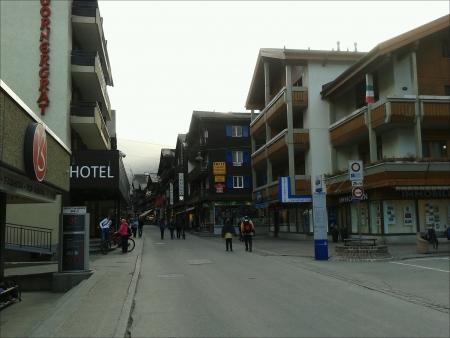 ski walking: People walking around in Zermatt Ski Village Switzerland.