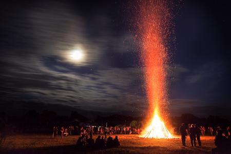 한여름 축제 모닥불 스톡 콘텐츠