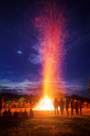 A bonfire for celebrating the summer solstice Stock Photo