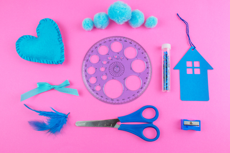 School tools on pink Background.