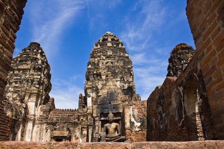 Phra Prang Sam yod Pagoda in Lopburi of Thailand
