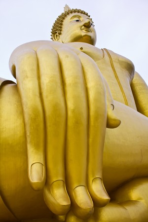 big hand buddha image in thai temple  photo