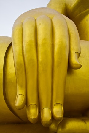 big hand buddha image in thai temple