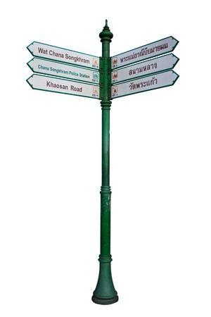 tourist guidepost isolated on white background