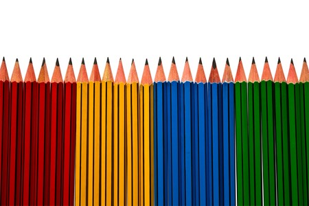 Pencils Blue Red and Yellow Isolated on White Background Stock Photo