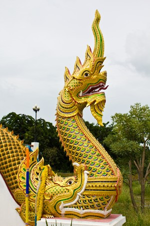 King of Naga in Temple of Thailand Stock Photo