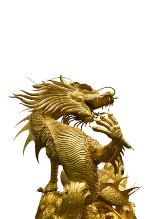 dragon head: Colorful Golden dragon statue on white backgroud Stock Photo