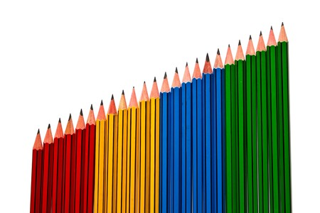Pencils Red Yellow Blue and Green on White Background