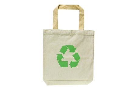 Shopping bag made out of recycled materials isolated on white background, Ecologically friendly, replaces plastic shopping bags.  Image