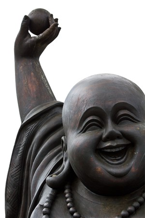 close up of a happy laughing buddha's face on white background Stockfoto
