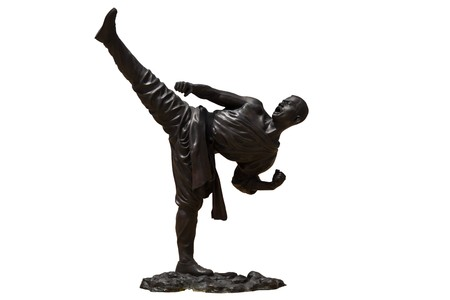 Bronze Shaolin warriors monk  Kung Fu Statue On White Background photo
