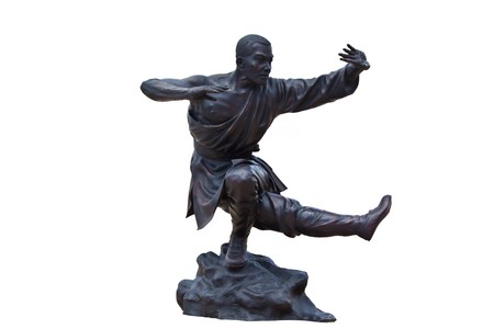 Shaolin warriors monk  Kung Fu Statue On White Background photo