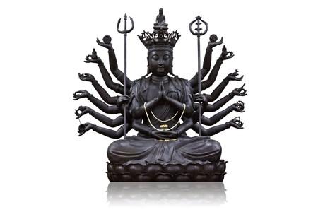 De beelden van Guanyin zwart op witte achtergrond