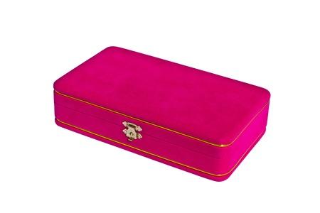 pink velvet box isolated on white background