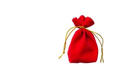 Rood fluweel zak geïsoleerd op witte achtergrond