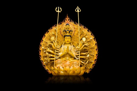 The images of Guanyin on black  background Stock Photo