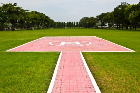 Heliport for helicopter in lopburi of Thailand