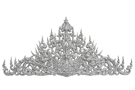 traditional Thai style molding art  at Wat Rong Khun temple in Chiang Rai, Thailand Stock Photo