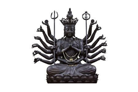 The images of Guanyin black on white background Stock Photo