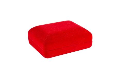 Red velvet box isolated on white background