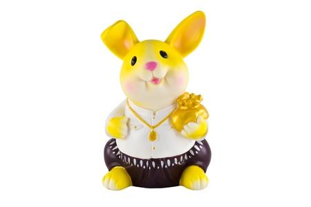 rabbit savings bank on a white background