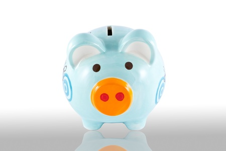 Piggy bank style money box isolated on a white Stock Photo