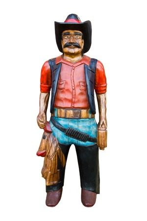 Wooden cowboy isolated on white background