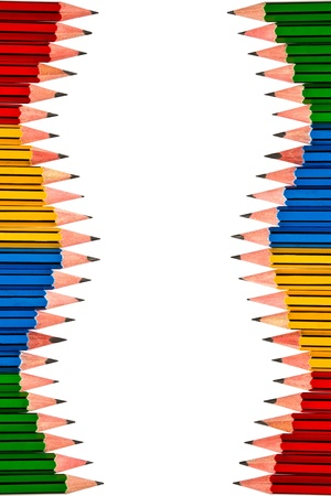 Pencils Red Yellow Blue and Green on White Background photo