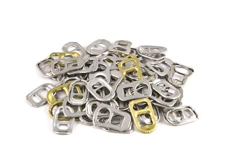 closeup recycle aluminium ear can on white photo