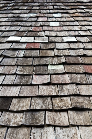 old worn shingle roof pattern in thailand Stock Photo - 9602387