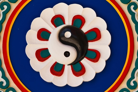 Colorful yin-yang sign in the chinese temple, Thailand photo