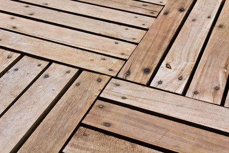 Patterns and textures of a wooden planks pavement Stock Photo - 10348642