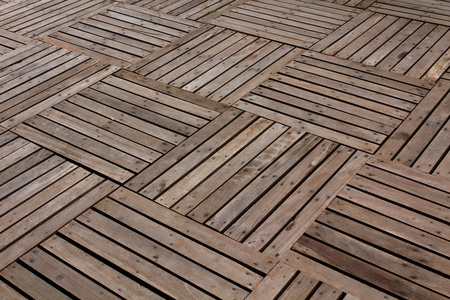 Patterns and textures of a wooden planks pavement Stock Photo - 10348640