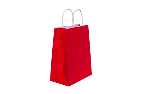Red paper bag ready for shopping, isolated on white background